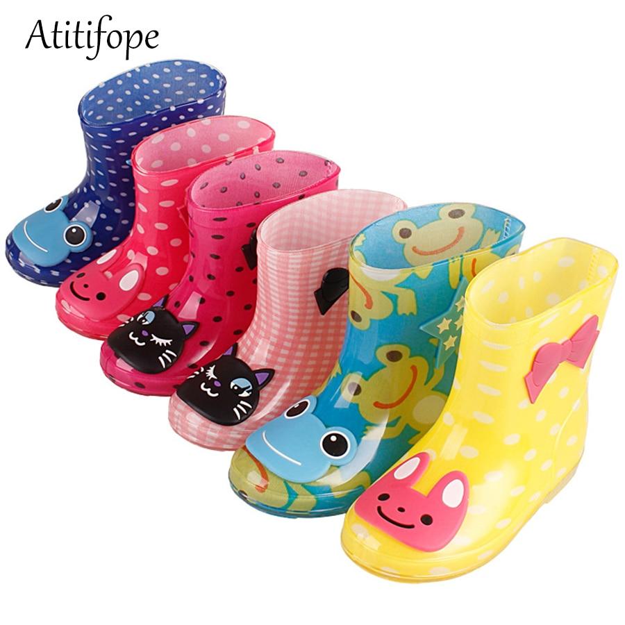 2018 Atitifope Rain Boots Kids Cartoon Rainboots Children Spring Autumn Winter Waterproof Shoes Non-slip Rubber Rain Shoes
