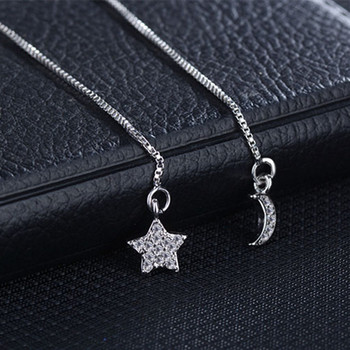 Todorova  Crystal Drop Earrings Star and Moon Long Chain Ear Wire Brincos Fashion Women Accessories Jewelry 1