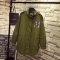 Letter Badge Women Trench Coat Casual Plus Size 3XL 4XL Epaulet Loose Turtleneck Long Trench Army Green Outerwear QYL91