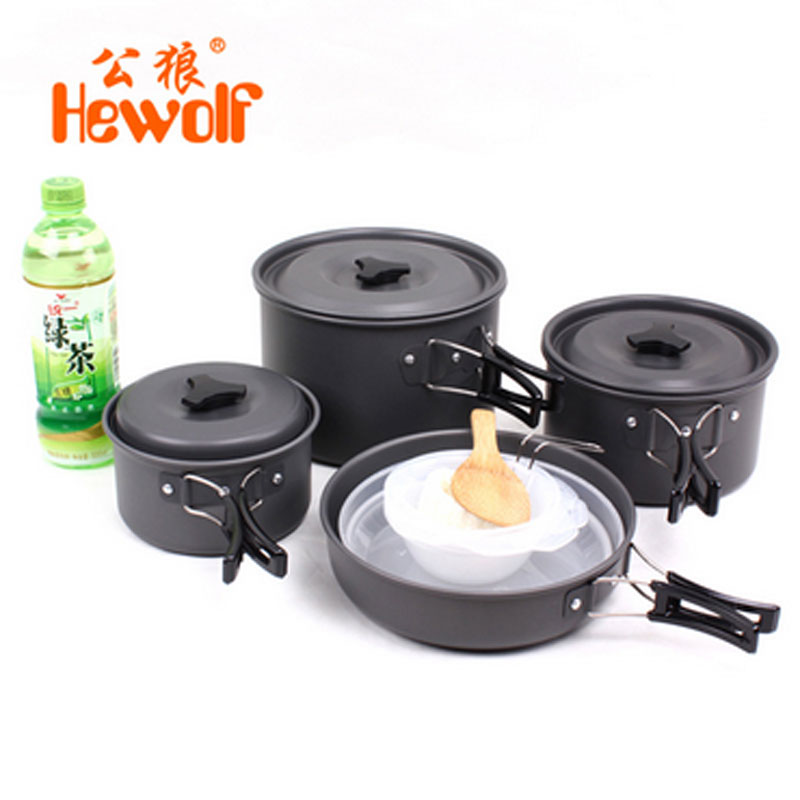 New Brand 4-5 Person Outdoor Picnic Camping Driving Travel Cookware Hiking Cookware Backpacking Bowl Pot Pan Set