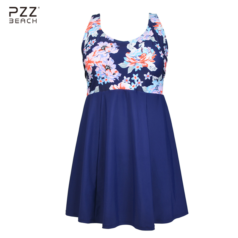 New Bikini Style 2017 Sexy One Piece Swimsuit Skirt Plus Size Swimwear Floral Print Tankini With Shorts Large Size Swim Suit 6XL front slit floral skirt one piece swimsuit