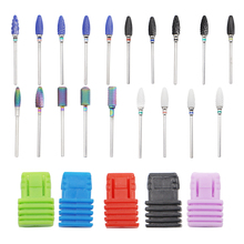 купить Nail Drill Bit Tungsten Round Flame Carbide Milling Cutter Manicure Blue Ceramic Drill Bits Electric Machine Nail Accessories дешево