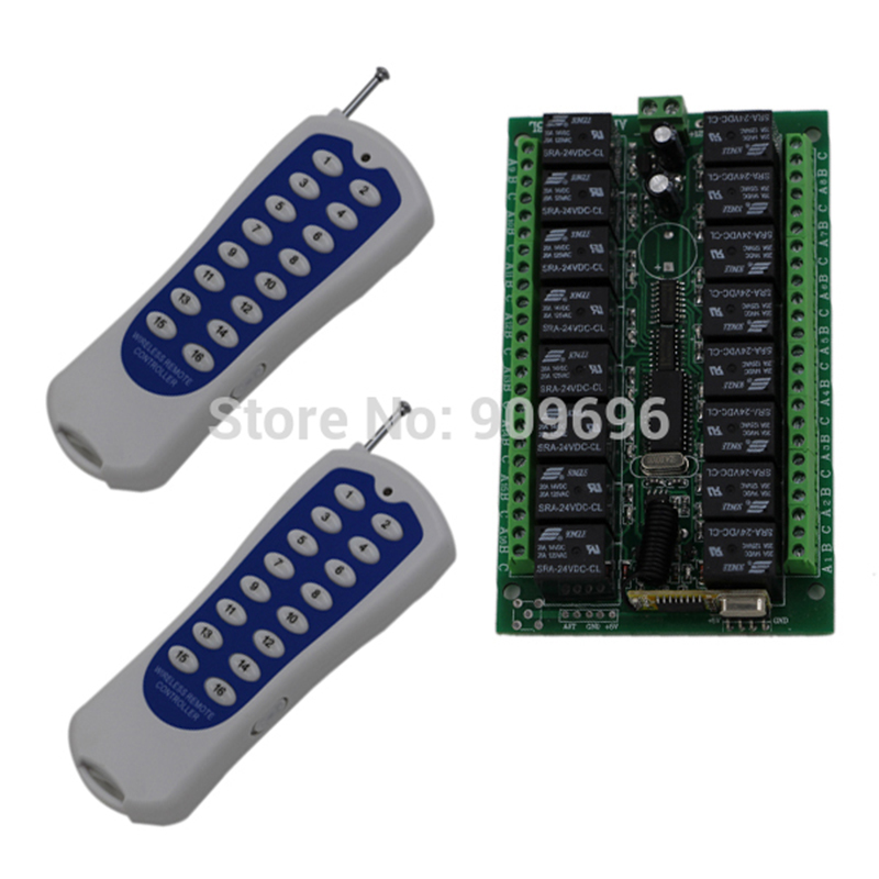 DC 24V 16CH wireless remote control 315HZ RF transmitter Controller remote switch top quality 16ch wireless remote control switch rf 3pcs transmitter 1pcs receiver dc24v 7a remote control switch for water pump