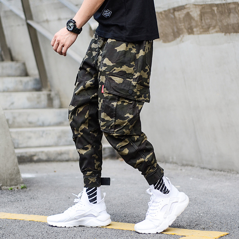 Fashion Camouflage Army Pants Men Jogger Jeans Ankle Banded Streetwear Punk Style Hip Hop Jeans Men Big Pocket Cargo Pants