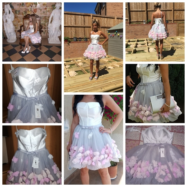 2019 Short Prom Dresses Graduation Strapless Gray White Flowers Real Photos Evening Organza Party Formal Gown Walk Beside You