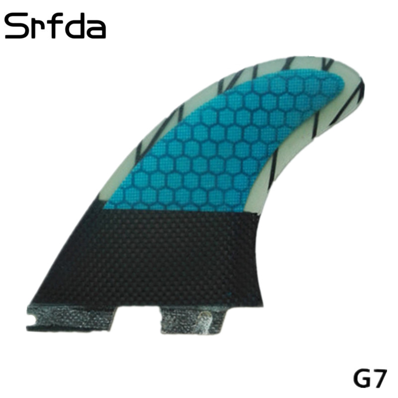 Srfda Surfboard Fin High Quality For FCS II Box G3 G5 G7 Surf Fins With Fiberglass Honey Comb Material For Surfing Blue SIZE L