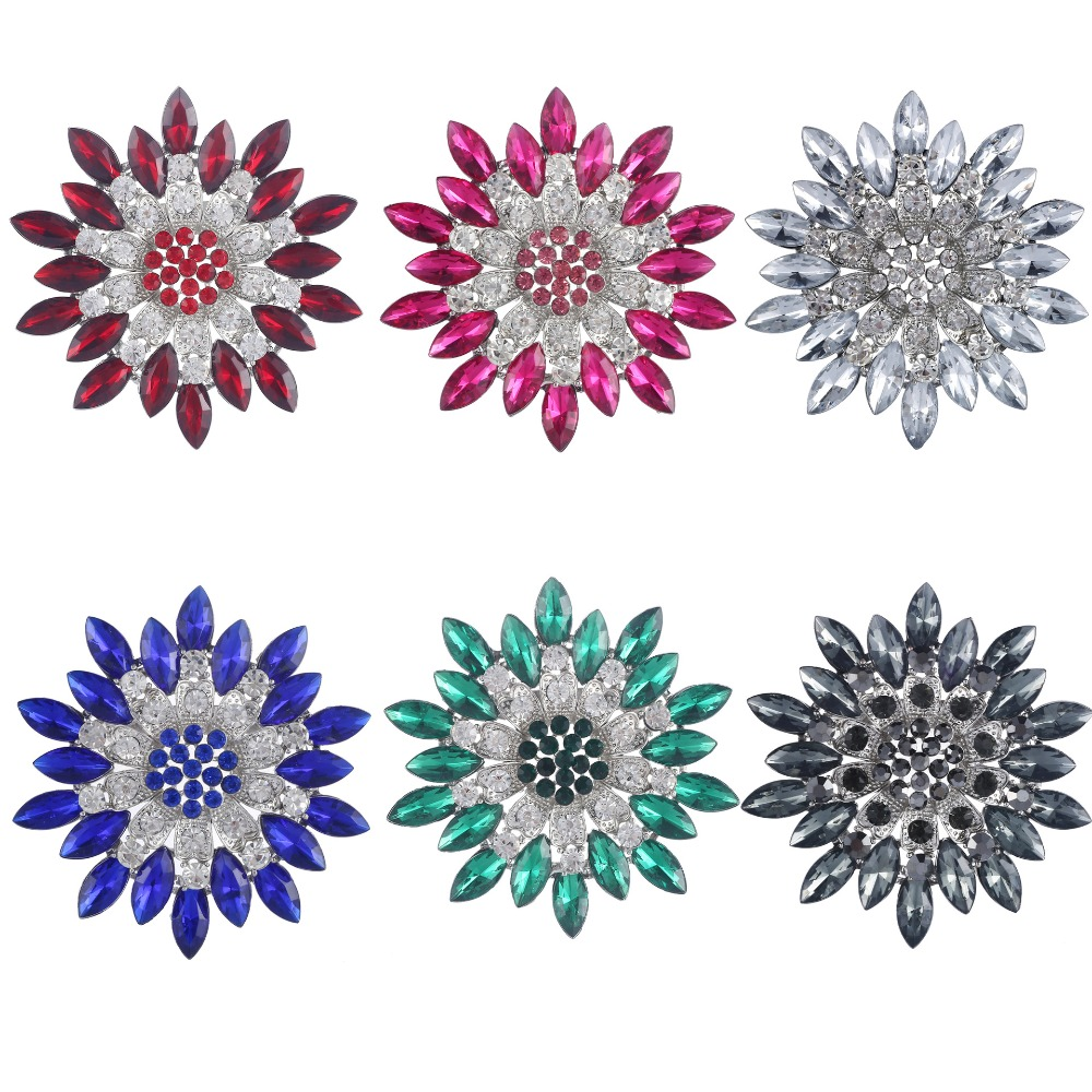 New 3PCs 68*68MM Crystal Rhinestone Daisy Sun Flowers Alloy Brooches Fashion Women Garment Handbag Brooch Pins Craft Party Gift