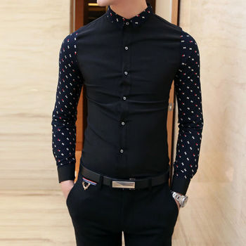 Autum Winter 2016 Men's Polka Dot Stitching Long-Sleeved Casual Shirts Korean Style Slim Cotton Comfortable Shirts