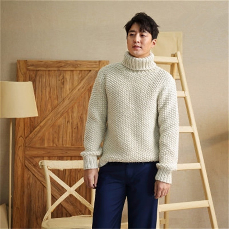 New Arrival 100% Hand Made Wool Blend Turtleneck Knit Men Solid H-straight Loose Pullover Sweater One&over Size