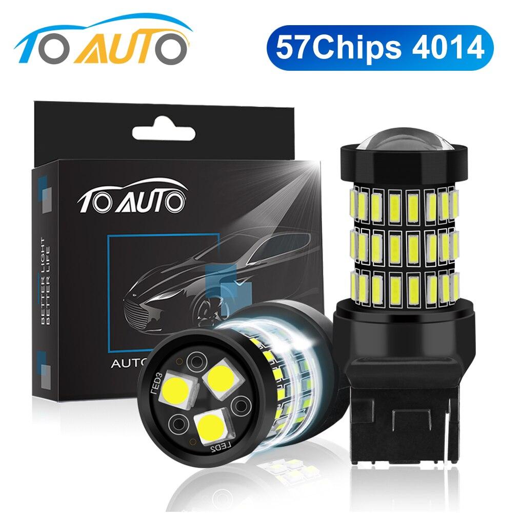 2pcs T20 7440 W21W LED 7443 SRCK W21/WY21W 12V 1200LM 5W LED Car Light Bulbs sinal da volta Do Freio Reverso Lâmpada Auto
