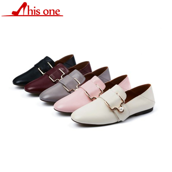 2018 Low Heel Genuine Leather Pumps Women Fashion Design Pumps pearl decoration Leather Closed Toe Shoes