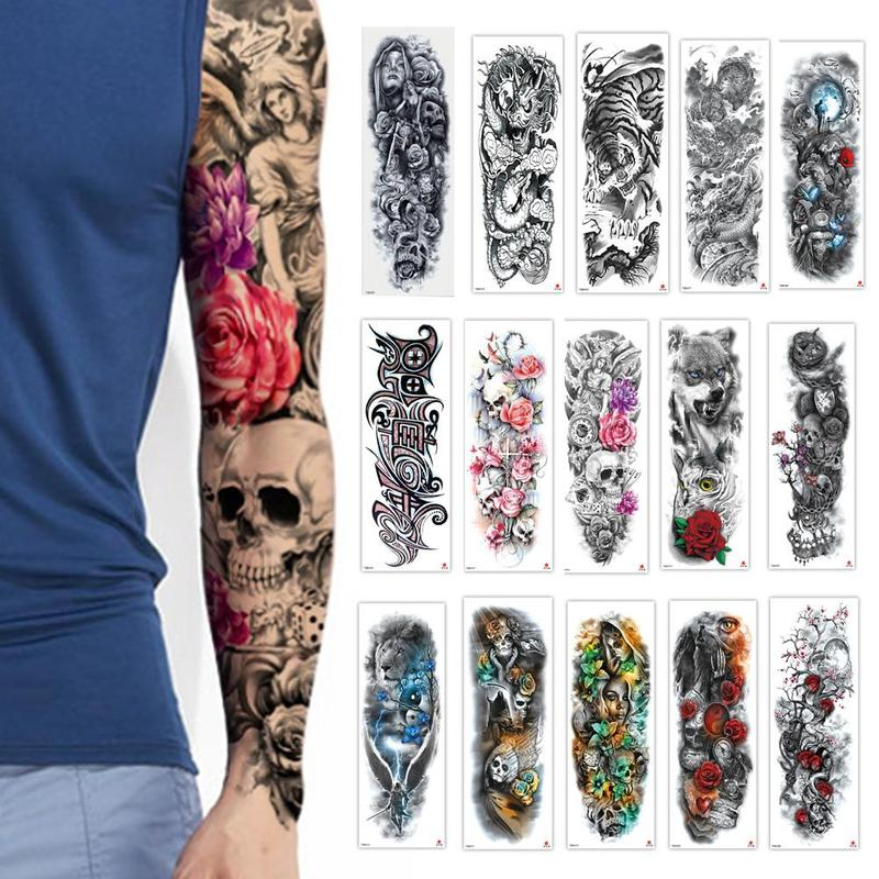 Full Flower Temporary Tattoo Sticker Arm Fake Tattoo Sticker Skull Lion Dragon Body Paint Waterproof Transfer Fake Tattoo Sleeve