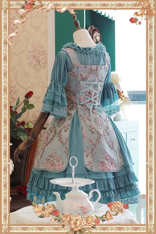 달콤한 자카드 꽃 jsk 로리타 드레스 윈저 애프터눈 티 시리즈 민소매 드레스 infanta-에서드레스부터 여성 의류 의  그룹 2