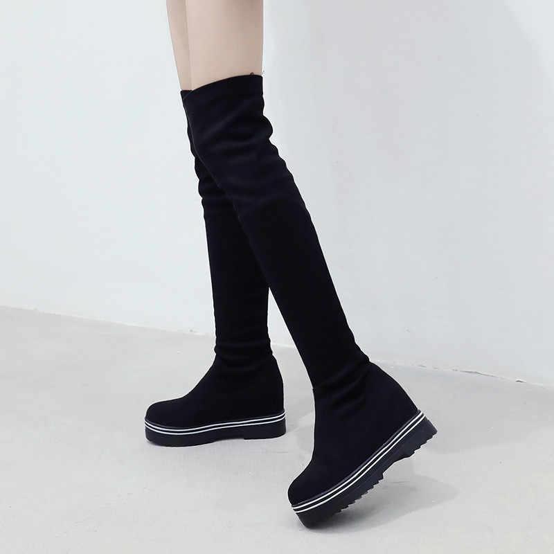 YMECHIC Bayan Gotik Ayakkabı Gizli Kama Topuklu Platformları Bayanlar Diz Üzerinde Yüksek Çizmeler Artı Boyutu Punk Sürüngen Şövalye Çizmeler Kış