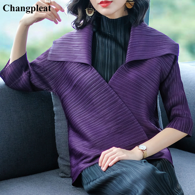 Changpleat 2019 Spring New Women   Basic     Jackets   Coat Miyak Pleated Fashion Solid Turn-down Collar Female cardigan Coats Tide C908