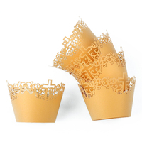 50pcs Filigree Vine Cross Lace Out Paper Cake Cupcake Wrappers Muffin Cases Baking Cup Case Trays