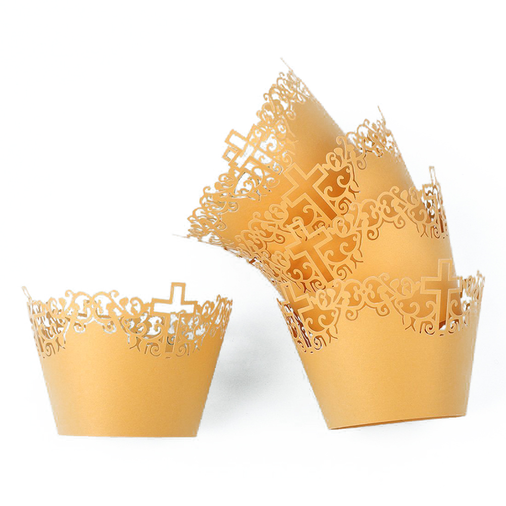 Golden BESTONZON 50 Pcs Crown Cupcake Wrappers//Cake Paper Cups//Baking Cup Muffin Case Trays,for Wedding Party Birthday Decoration