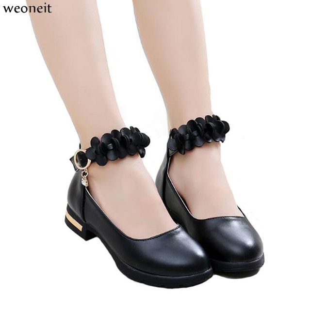 Weoneit Girls Leather Shoes Children Flowers Black Red White Dress Shoes Kids Princess Students School Shoes Size 27-37