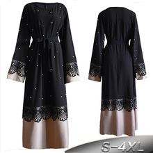 AIFEIYIYI Plus Size Robe Femme 2018 Abaya Dubai Kaftan Women Bodycon  Beading Dress 8bf77ee5f81