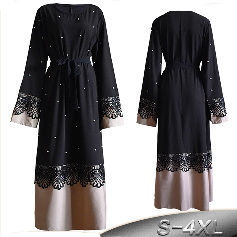 Plus Size Robe Femme 2019 Abaya Dubai Kaftan Women Bodycon Beading Lace Maxi Hijab Muslim Dress Turkish Islamic Prayer Clothing