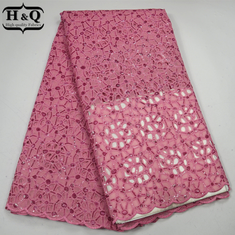 H&Q Pink Color African Lace Fabric 5 Yards/Piece, African Organza Lace Fabric With Sequins For Sewing Dress/Wedding Clothing