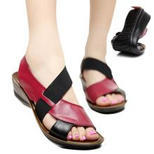 Summer Sandals Women Leather Low Heels Ladies Slippers Flat band Sandalias Mujer