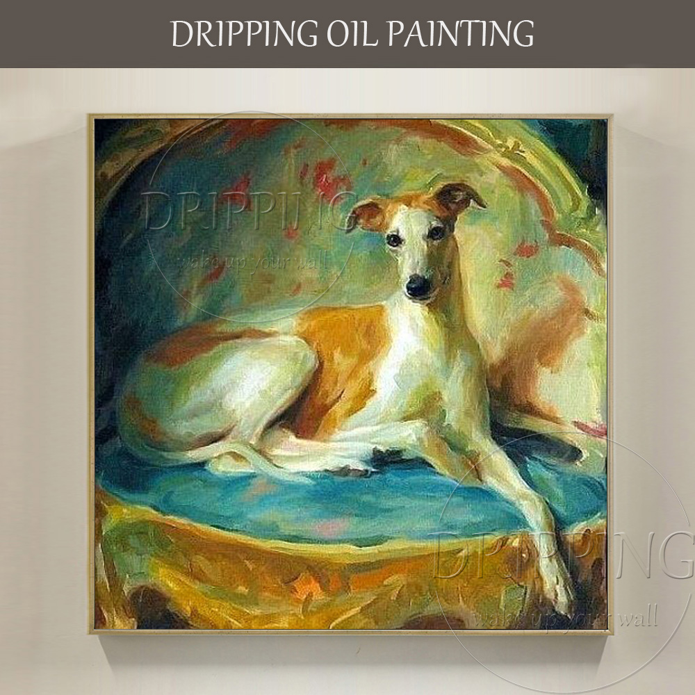 New Arrivals Hand-painted High Quality Greyhound Oil Painting on Canvas Beautiful Dog Picture Greyhound Painting for Living Room