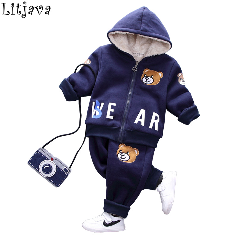 Warm Baby Winter Parka Jackets Flying Bear Childrens Chirstmas Down Coat+ Pant 2Pcs Costumes Set for Boys Bebes Snow Outwear