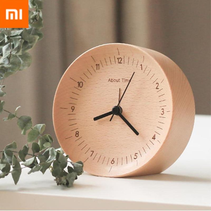 Original Xiaomi Mijia muet mouvement en bois réveil bois bureau Table horloges montre cadeau de noël pour bureau Xiaomi Smart Home