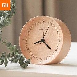 Original Xiaomi Mijia Mute Movement Wooden Alarm Clock Wood Desktop Table Clocks Watch Xmas Gift For Office Xiaomi Smart Home
