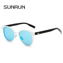 SUNRUN Classic Oval Mujeres Lente de Espejo Marco de Aleación de gafas de Sol de Diseñador de la Marca Gafas Retro Fresco Gafas de Sol UC400 DEPTH01
