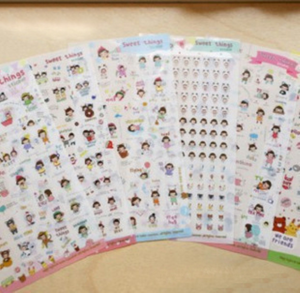 6Sheet/Pack New Japan Korea Lovely Sweet Things Sweetheart Story Suite Stickers PVC Paragraph Gift H0417
