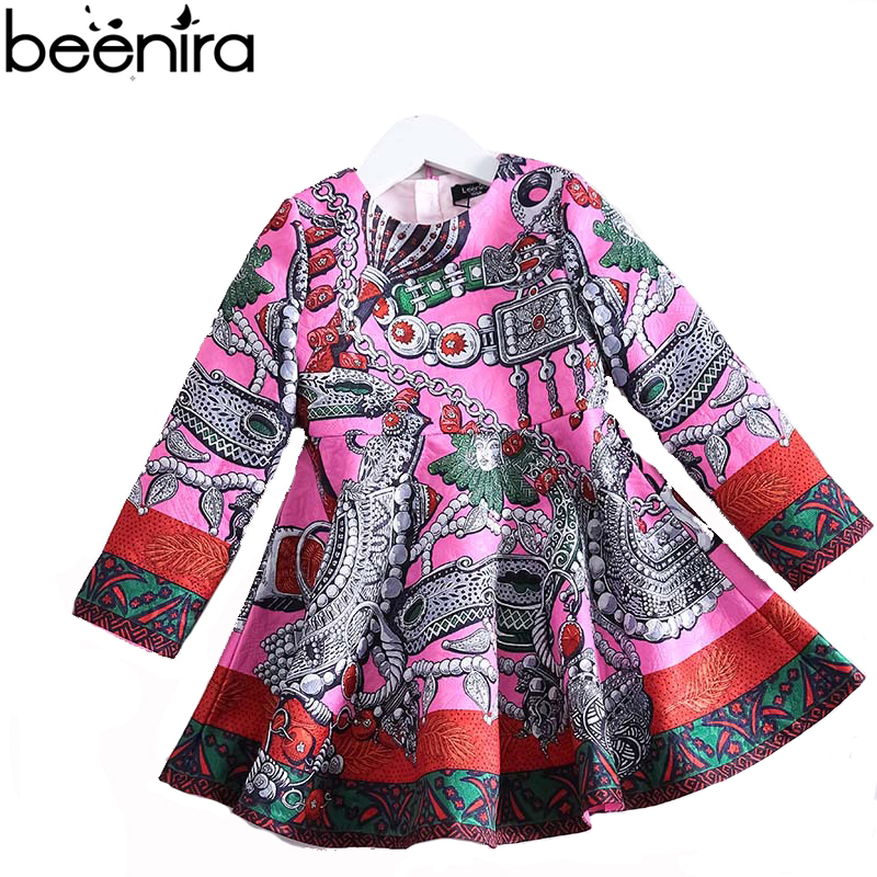 New fashion autumn girls dresses kids Tribute Silk Princess Natura costumel linen Jacquard clothing for Party High Quality jacquard green label silk colors cyan [pack of 3 ]