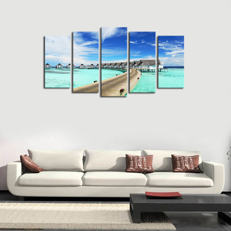 Woor Home Decor Beach Wooden Bridge Ocean View Landscape Tapestries Hanging Bedroom Living Room Decorations Polyester Tapestry Wall Art Nature 60 X 40