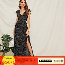 830a762010 Sheinside Black Polka-dot Ruffle Armhole Split Thigh Maxi Dress Women 2019  Summer Boho V neck Dresses Ladies High Waist Dress