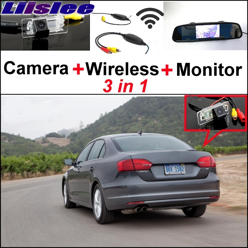 Liislee Special Camera + Wireless Receiver + Mirror Monitor Parking System For Volkswagen VW Jetta MK6 A6 1B Sagitar 2011~2015 wireless pager system 433 92mhz wireless restaurant table buzzer with monitor and watch receiver 3 display 42 call button