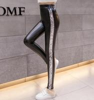 Autumn women Faux Leather Pants Women Elastic Waist Sexy PU trousers Female Casual Splicing sequins Skinny Pencil Pants w1038