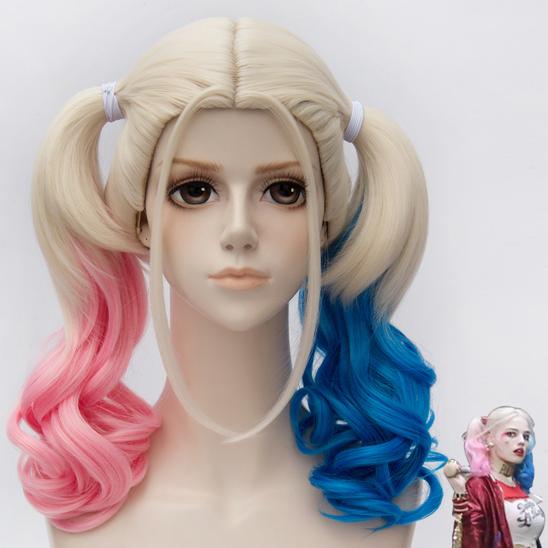 Free Shipping 45cm Short Harleen Quinzel Harley Quinn Color Mixed Synthetic Anime Cosplay Wig