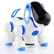 Get more info on the 1 Pcs Electric Vocal Dog Toy Plastic Flashing Eyes Vocalizing Walking Automatically Turning Robot Dog Doll Baby Interactive Toys