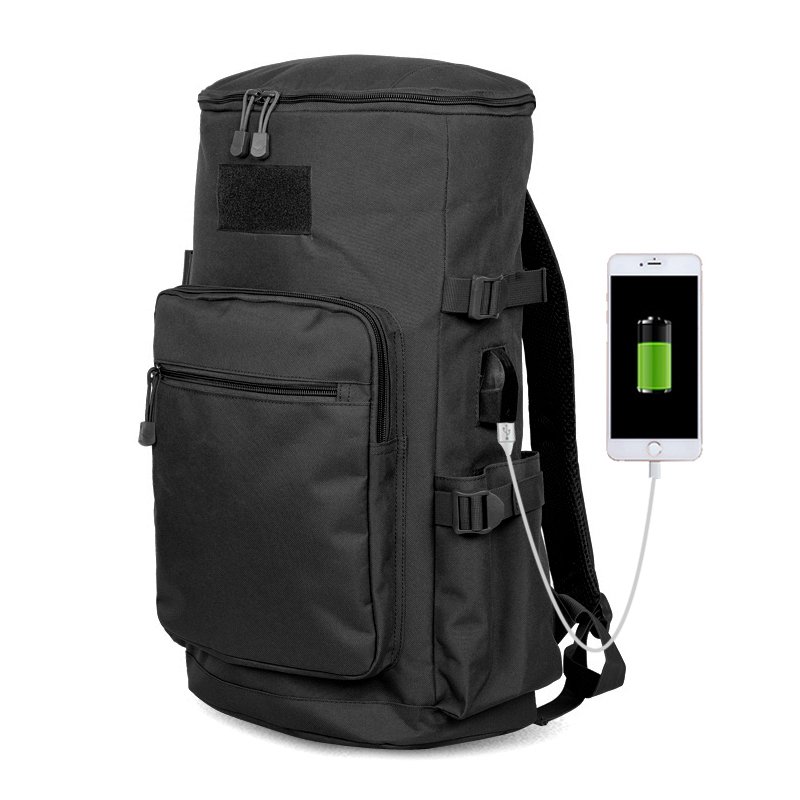 BURAQ Brand 600D Nylon Black Solid Color Unisex Zipper Flap Pocket Airsoft USB Port 45L Laptop Men Ripstop Backpack T0225