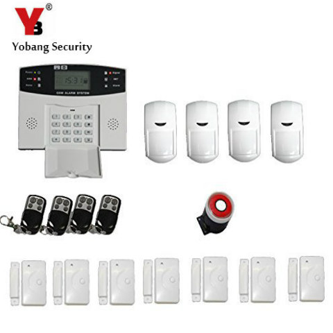 YoBang Security Metal Remote Control Wireless Line GSM Home Safety System LCD Display Door Sensor Wire Alarm Detector+PIR Alarm ...