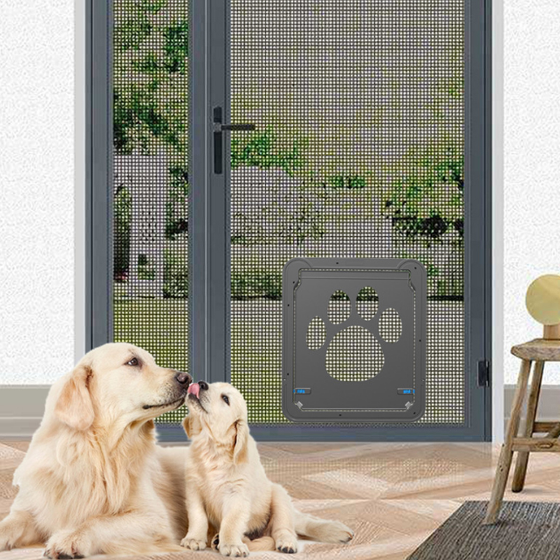 PETFORU 37cm*42cm Anti Scrape Pet Door Screen Window ABS Magnetic Auto Lock  Flaps For Dog Cat   Black
