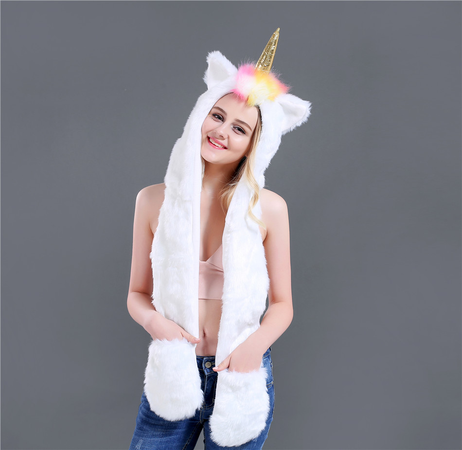 New Fashion Autumn And Winter Unicorn Three Pieces Set Faux Fur Hat Plush Cartoon Animal Hat Hat Scarf Gloves One SN51 (3)