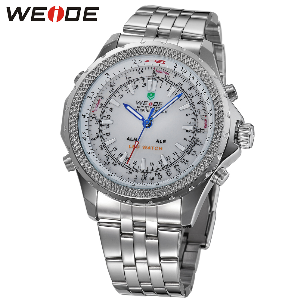 weide brand LED stainless steel bands fashion & casual watch strap luxury white watch quartz men sports watches sport waterproof weide 5205 men led sports watch with stainless steel band