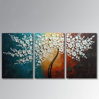 3 pcs Hand painted thick paint pallet knife Oil Painting white flowers on canvas Modern Home Decor wall art for living room A354