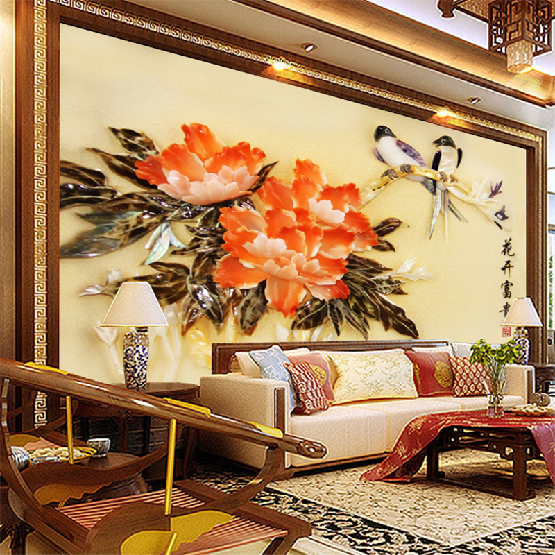 Custom Mural Wallpaper 3d Stereoscopic Relief Pearl: Beibehang TV Backdrop Stereoscopic 3D Relief Seamless