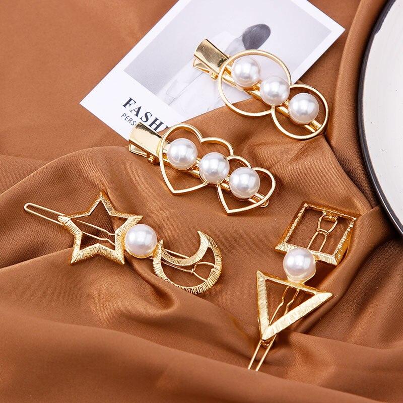New Women Vintage Pearls Heart Geometric Alloy Hair Clips Lady Elegant Hairpins Barrettes Headband Fashion Hair Accessories
