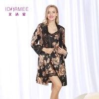 IDARMEE S1024แบรนด์หรูผู้หญิงที่หรูหราเสื้อคลุมชุดชุดผู้หญิงผ้าไหมมารยาทลูกไม้ชุดชั้นในPijama