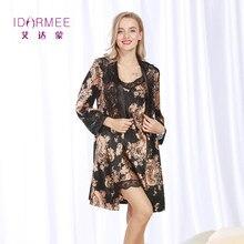 80ffad7b4 IDARMEE S1024 Marca Upscale Senhora Luxuoso Robe Set Vestido Mulheres Faux  Seda Rendas Pijama Lingerie Sexy Babydoll Chemise
