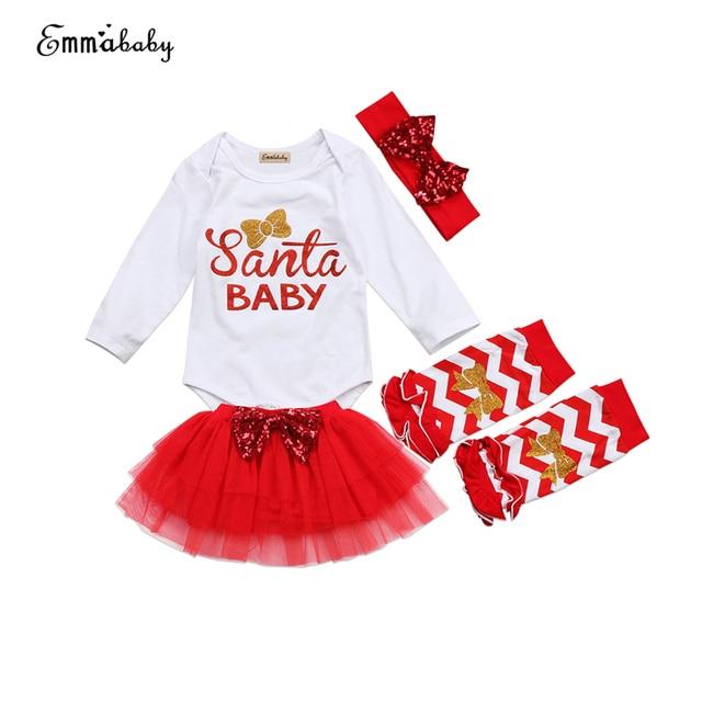 xmas baby girls santa clothes set christmas newborn baby tops romper tulle skirt leg 4pcs 2017